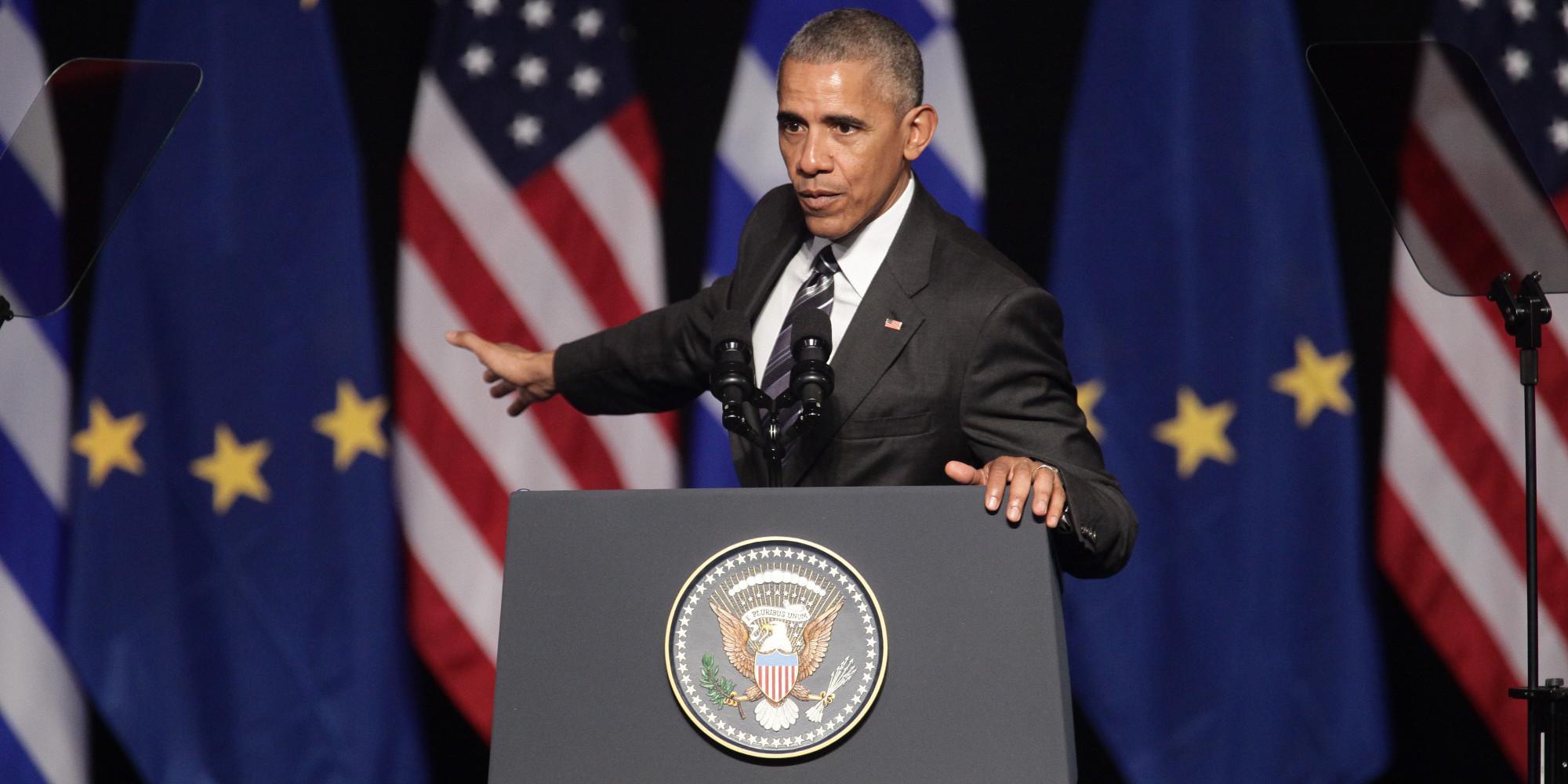 Ο Πρόεδρος των ΗΠΑ, Barack Obama, κατά την ομιλία του στο Κέντρο Πολιτισμού Ίδρυμα Σταύρος Νιάρχος (ΚΠΙΣΝ).