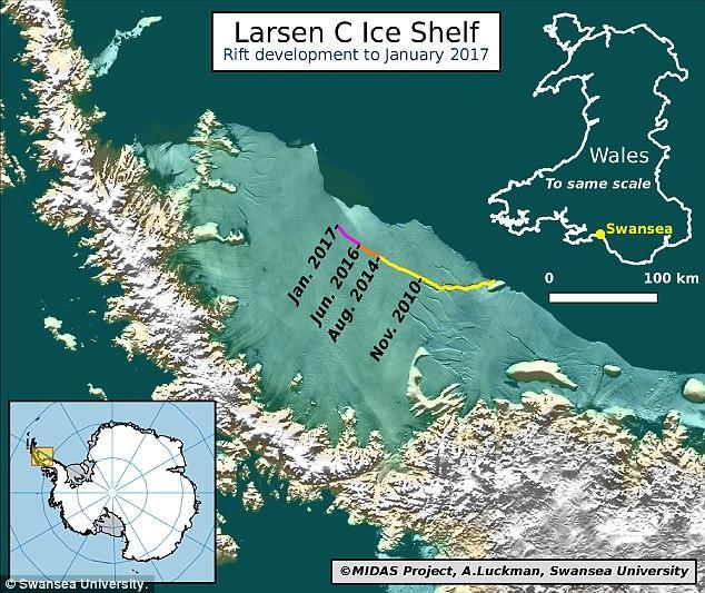 larsen-c-1300 Παγόβουνο είναι έτοιμο να ξεκολλήσει και να ανεβάσει 10 εκατοστά τη στάθμη της θάλασσας [βίντεο]