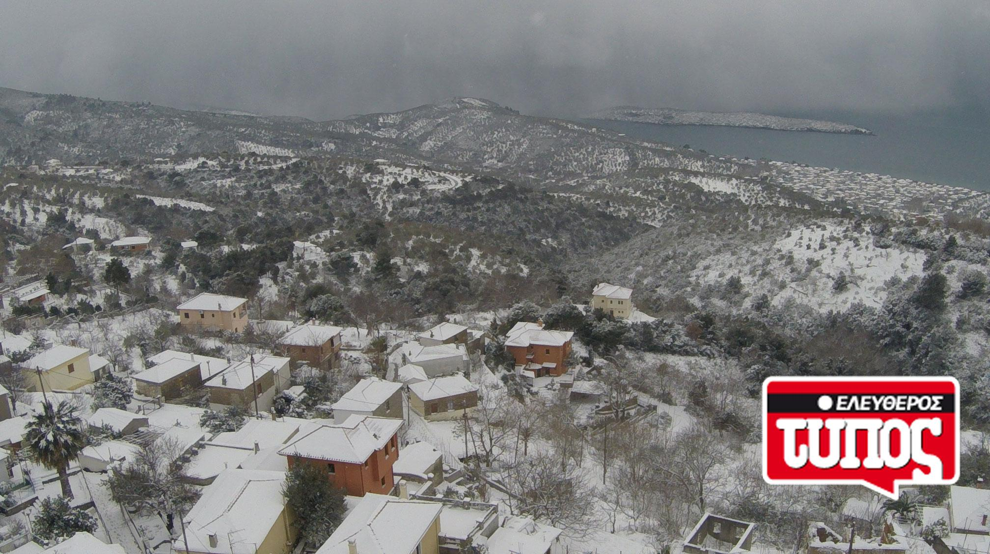 laukos-piliou-xionismenos-aerofotografies-1300-1 Εντυπωσιακές αεροφωτογραφίες από το χιονισμένο Λαύκο Πηλίου [εικόνες]
