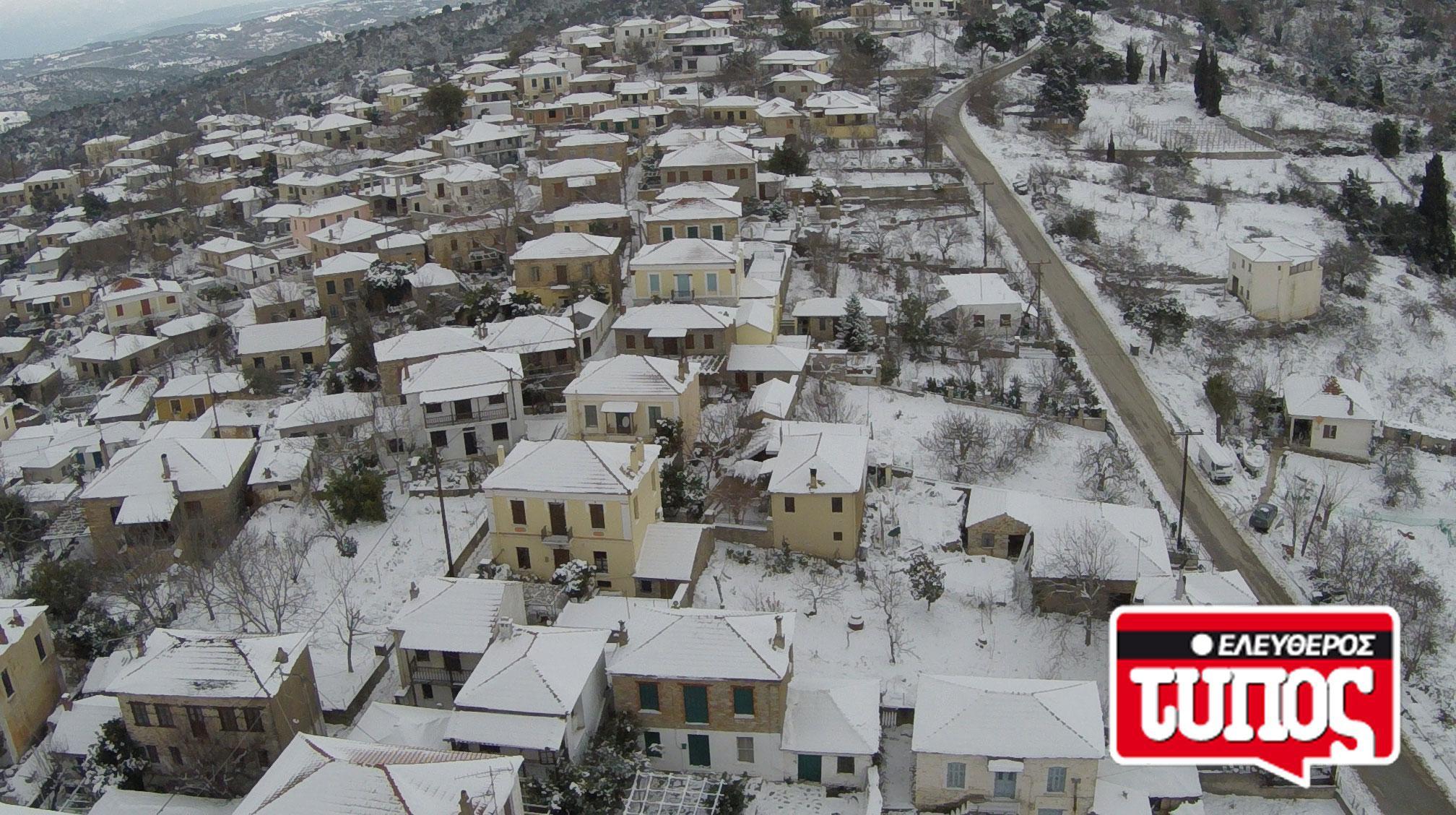 laukos-piliou-xionismenos-aerofotografies-1300-10 Εντυπωσιακές αεροφωτογραφίες από το χιονισμένο Λαύκο Πηλίου [εικόνες]