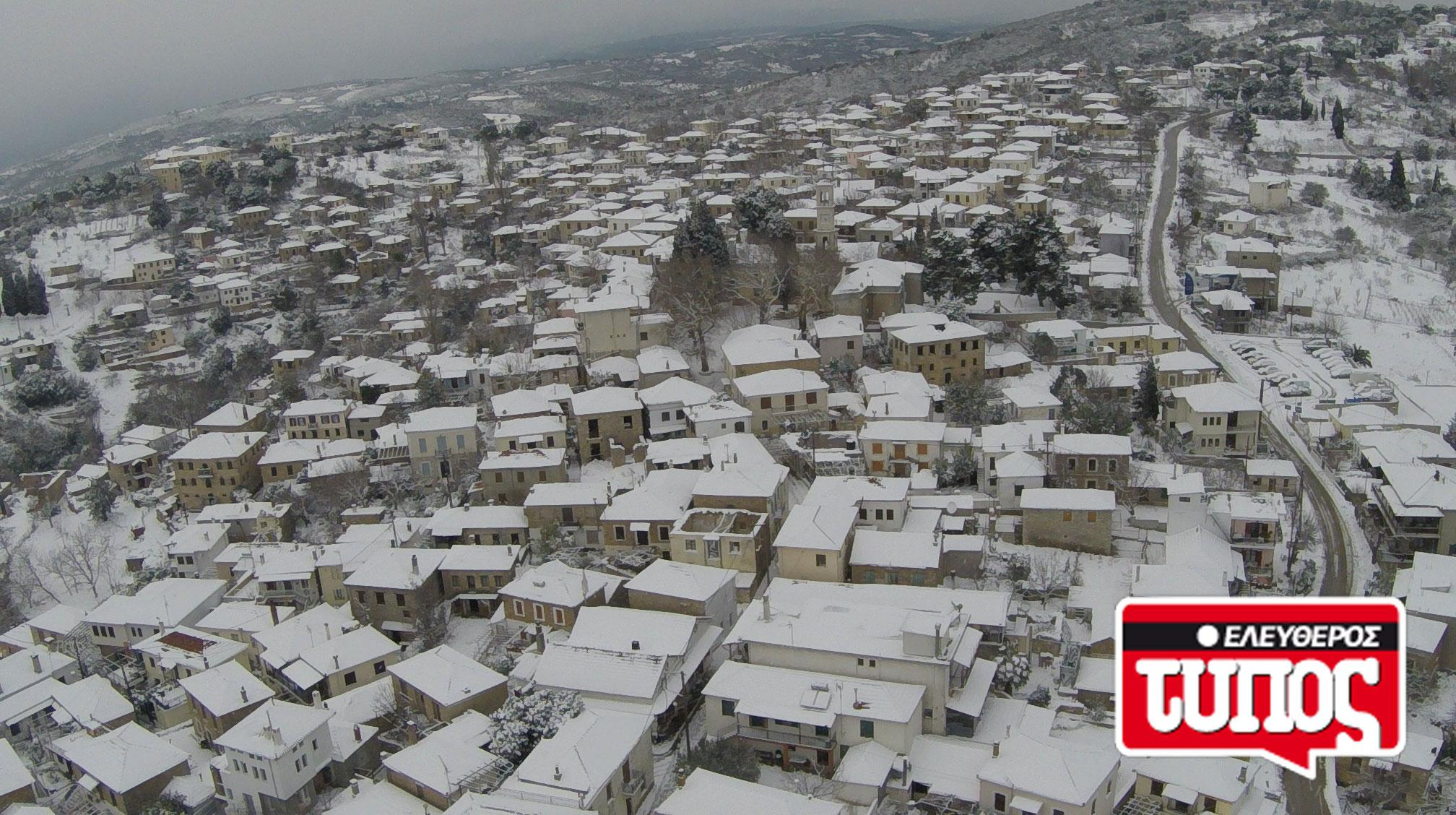 laukos-piliou-xionismenos-aerofotografies-1300-7 Εντυπωσιακές αεροφωτογραφίες από το χιονισμένο Λαύκο Πηλίου [εικόνες]