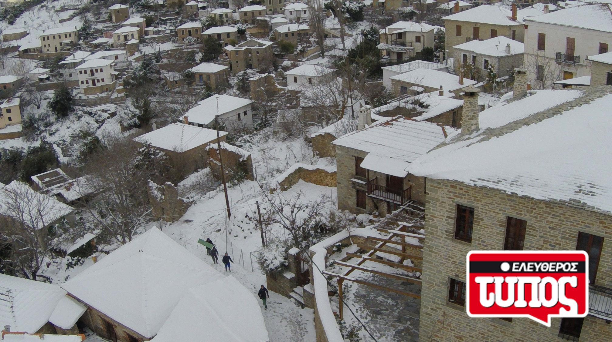 laukos-piliou-xionismenos-aerofotografies-1300-8 Εντυπωσιακές αεροφωτογραφίες από το χιονισμένο Λαύκο Πηλίου [εικόνες]