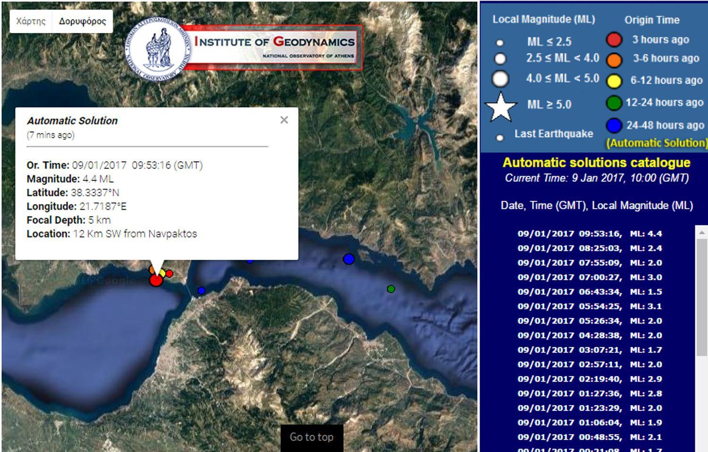 seismos-naupaktos-1300 Ισχυρός σεισμός 4,5 Ρίχτερ στην Ναύπακτο
