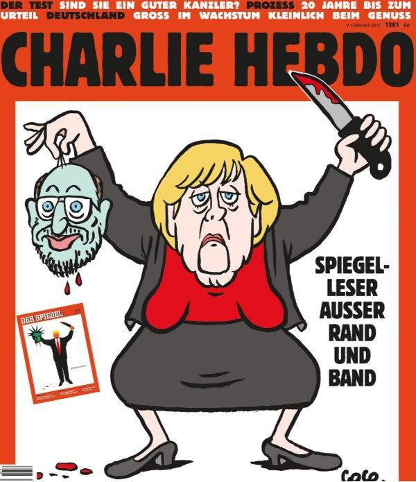 charlie_0 Η Μέρκελ «αποκεφαλίζει» τον Σουλτς στη γερμανική έκδοση του Charlie Hebdo