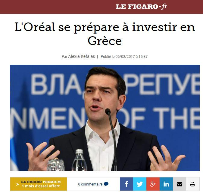 le-figaro-tsipras-1 Le Figarο για Τσίπρα στο Παρίσι: Μυστική επένδυση της L' Oreal στην Ελλάδα