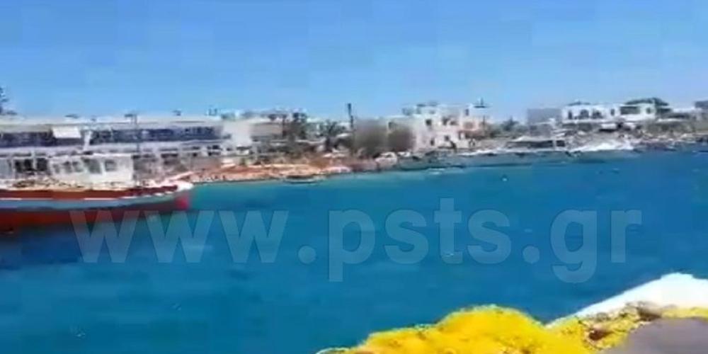 Η στιγμή της σύγκρουσης δύο σκαφών στη θάλασσα στην Πάρο [βίντεο]