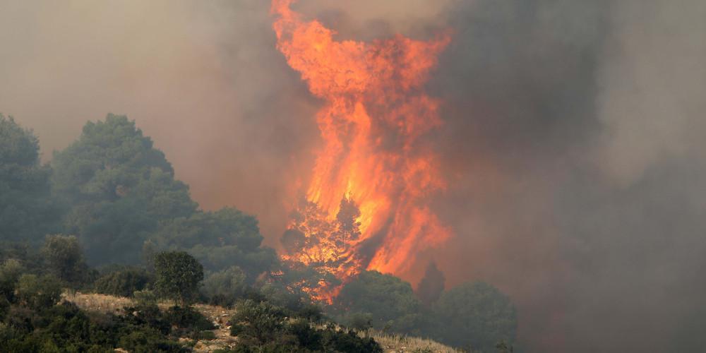 Μεγάλη πυρκαγιά στο Νεοχώρι Πλωμαρίου στη Λέσβο