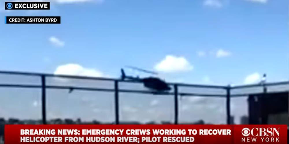 Βίντεο-σοκ: Ελικόπτερο χάνει τον έλεγχο και πέφτει στον ποταμό Χάντσον