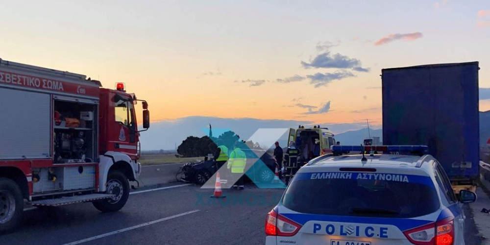 Δύο νεκροί σε τροχαίο στην Κομοτηνή: ΙΧ συγκρούστηκε με νταλίκα