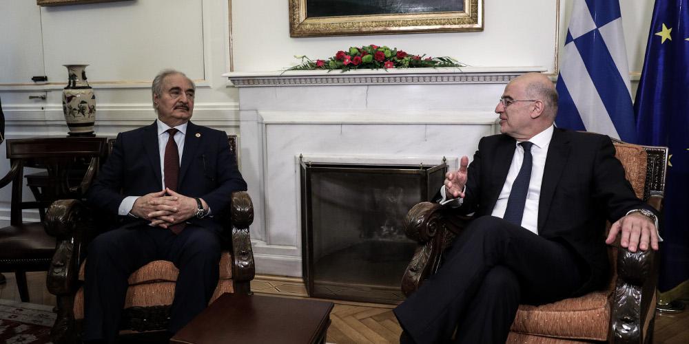 Ολοκληρώθηκε η συνάντηση Δένδια-Χαφτάρ - Τι του ζήτησε ο Ελληνας ΥΠΕΞ