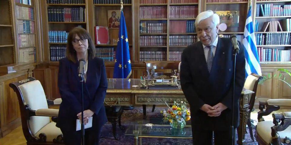 Η τελετή παράδοσης-παραλαβής για την νέα Πρόεδρο της Δημοκρατίας Κατερίνα Σακελλαροπούλου
