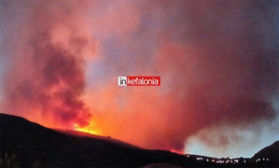 Φωτιά στην Κεφαλονιά: Μήνυμα του 112 στους κατοίκους