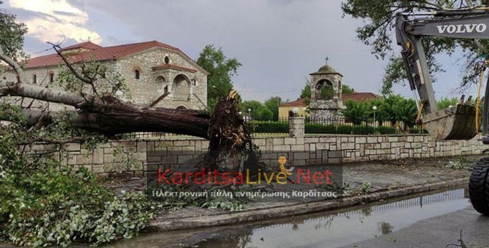 Καρδίτσα: Ζημιές από ισχυρούς ανέμους και χαλαζόπτωση στην περιοχή του Παλαμά [εικόνες]