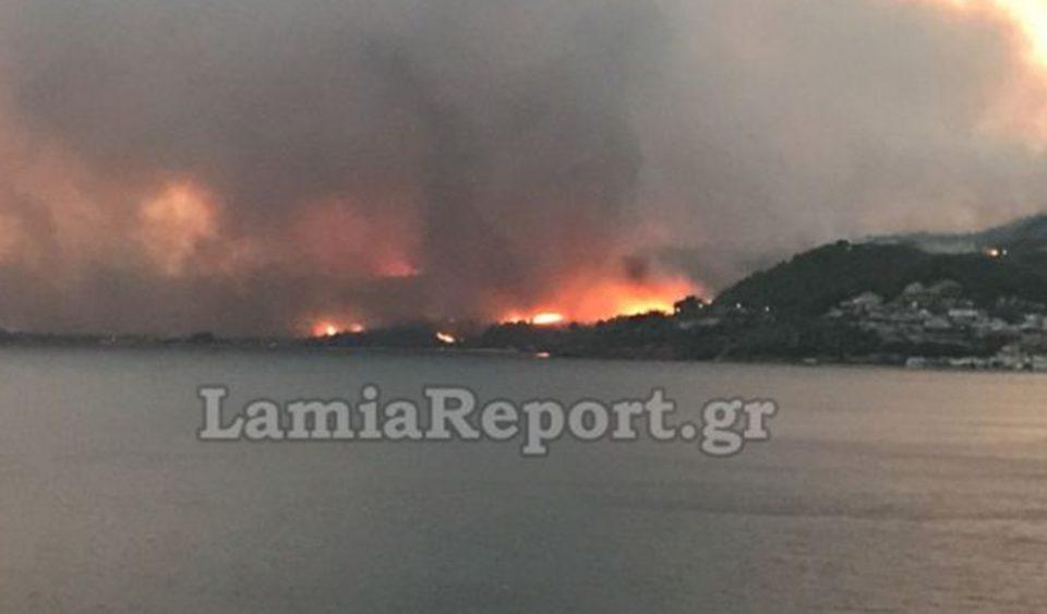 Μαίνεται η πυρκαγιά στη Λίμνη Εύβοιας – Εκκενώθηκαν οικισμοί [βίντεο]