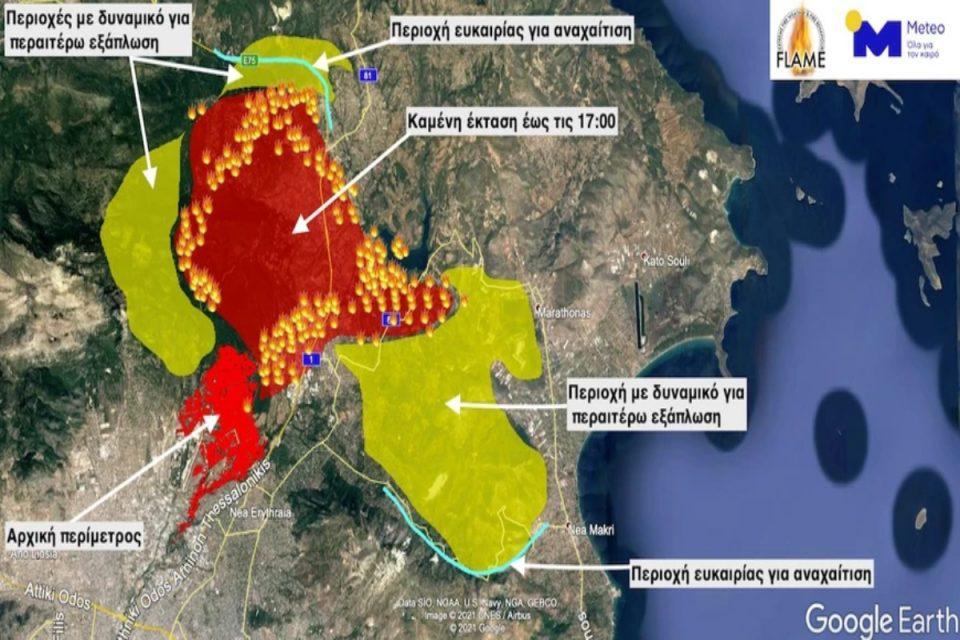 Φωτιά στην Αττική: Το εφιαλτικό σενάριο του Meteo – Μέχρι που θα φτάσει η πύρινη λαίλαπα το Σάββατο